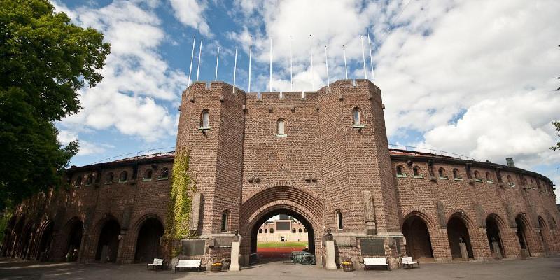 Main gate of Stockholms Olympia stadium the Olympic Stadium