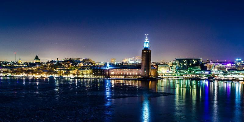 Night light reflection in stockholm