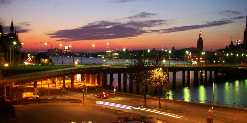 Night light view in stockholm