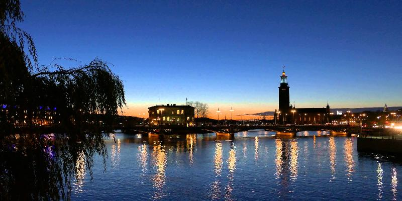 Stockholm City Hall during sunset
