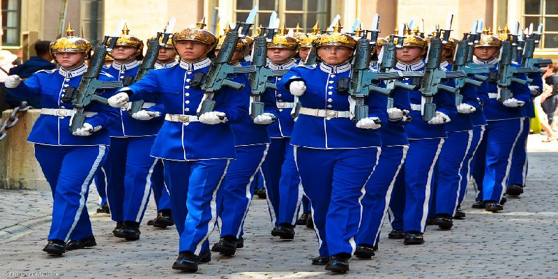changing of the guard in royal palace in stockhom
