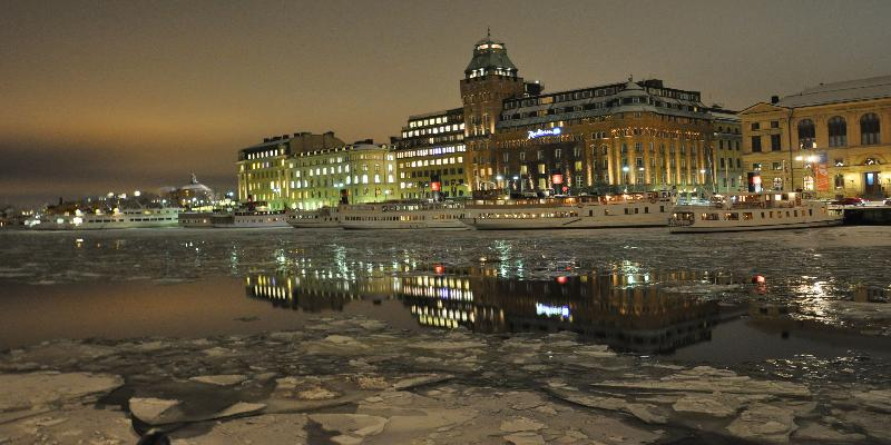 night time building in stockholm